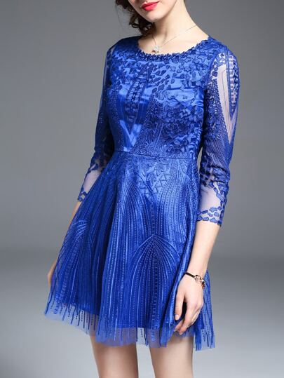 Blue Sheer Gauze Embroidered Dress