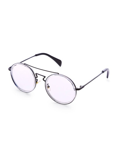 Double Bridge Clear Lens Round Glasses