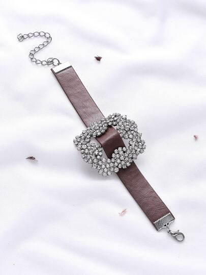 Bracelet en faux cuir de conception strass