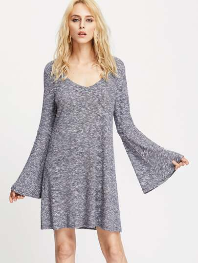Navy Marled Ribbed Knit Keyhole Back Bell Sleeve Dress