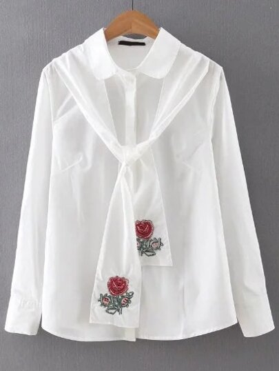 Peter Pan Collar Tunic Blouse With Tie Detail