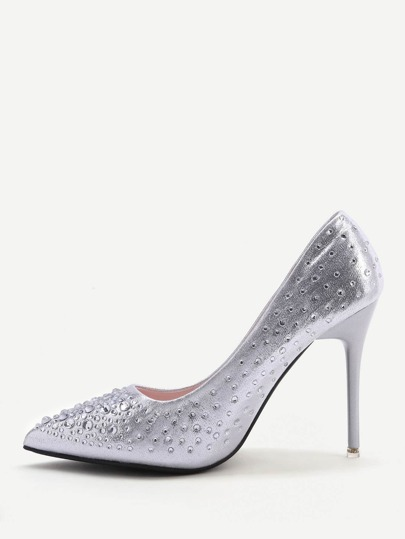 Silber Kristall Detail Point Toe High Heels