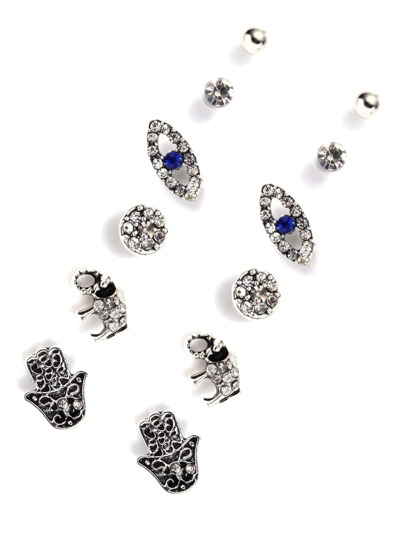 Rhinestone Detail Elephant Stud Earrings Set