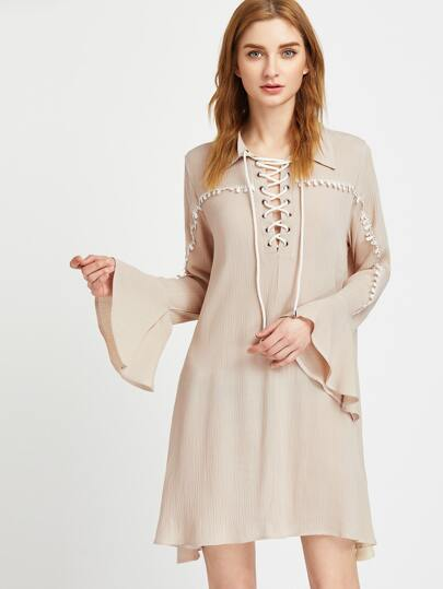 Apricot Lace Up Bell Sleeve Crochet Detail Dress