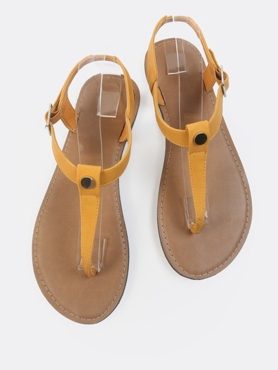 Sling Back Thong Sandals MUSTARD