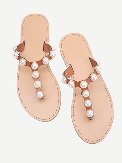 Sandalias con diseño de perla de imitación con tira en el dedo