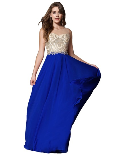 Rhinestone Embellished Zipper Back Chiffon Bridesmaid Dress