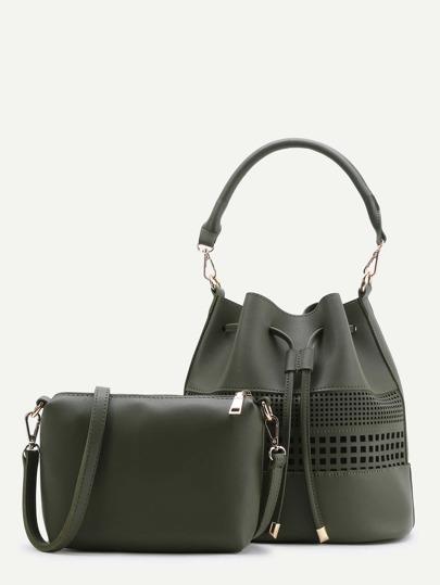 Dark Green Bucket PU Bag With Crossbody Bag