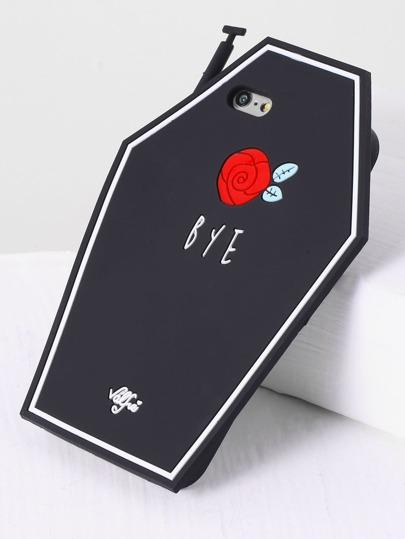 Funda para iphone 6/6s con estampado de rosa - negro