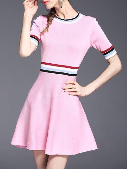 Pink Color Block A-Line Dress