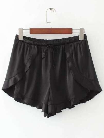Shorts ribete con volantes con cordón - negro