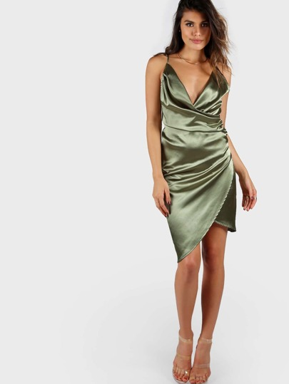 Strappy Back Draped Wrap Dress