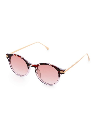 Gold Arm Pink Lens Sunglasses