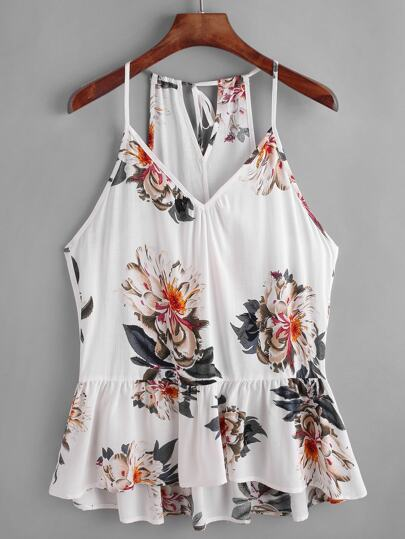 Flower Print Keyhole Self Back Peplum Cami Top
