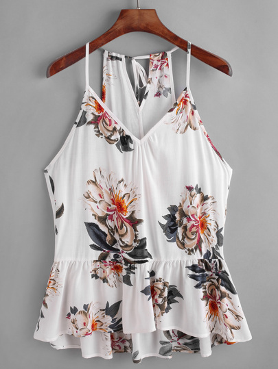 Flower Print Keyhole Self Tie Back Peplum Cami Top