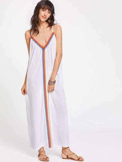 Eyelet Lace Trim Scoop Back Cami Dress