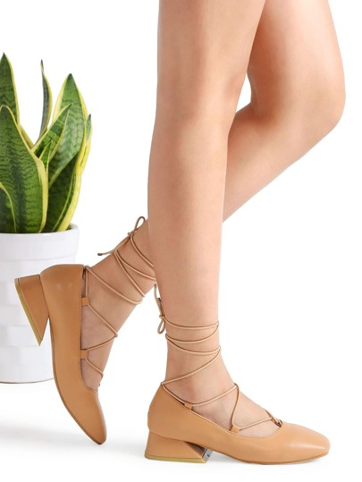 Zapatos de tacón punto con cordones - kaki
