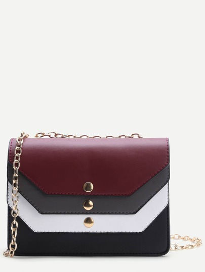 Color Block Design PU Chain Bag