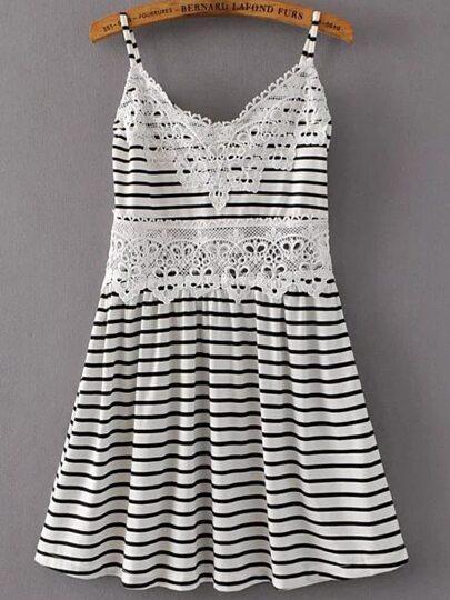 Bianco e nero a strisce Crochet Trim Dress Cami