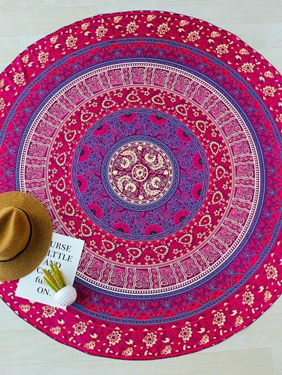 Fiore Rosso Stampa Boho rotonda di stile Beach Blanket