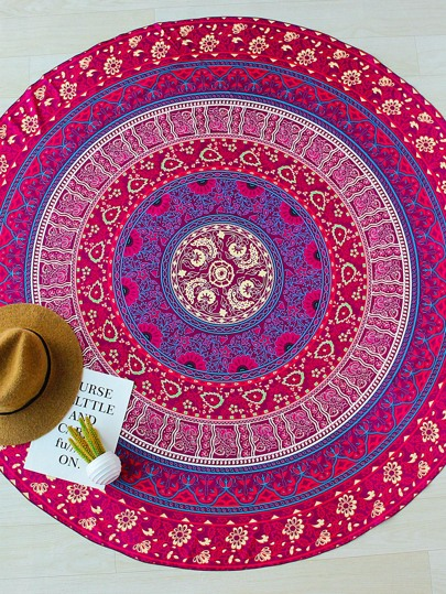 Red Flower Print Boho Style Round Beach Blanket