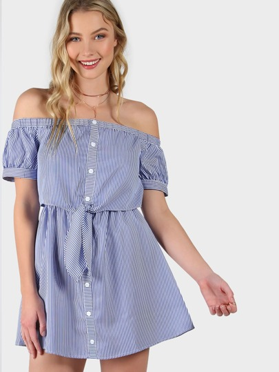 Striped Bardot Button Up Dress BLUE MULTI