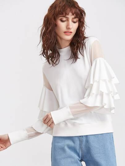 Layered Ruffle Trim Mesh Sleeve Sweatshirt