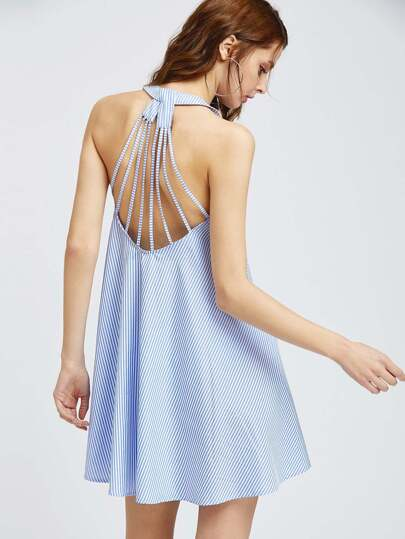 Caged Racerback Striped Trapeze Dress