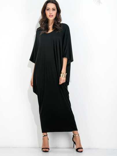 Black Dolman Sleeve Cocoon Dress