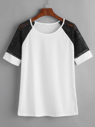White Contrast Lace Raglan Sleeve T-shirt