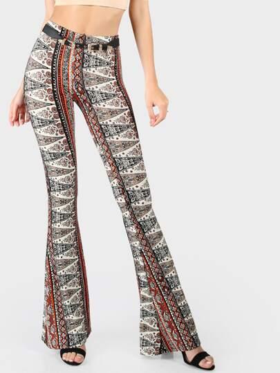 Multi Print Flare Pants ORANGE