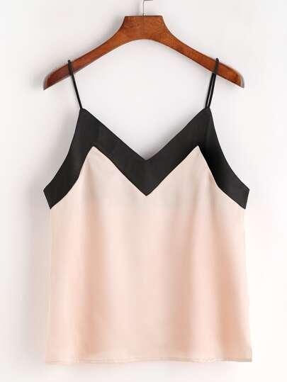Pink Contrast Neckline Silky Cami Top