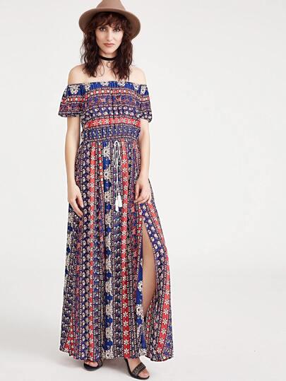Ornate Print Tasseled Drawstring Waist M Slit Dress