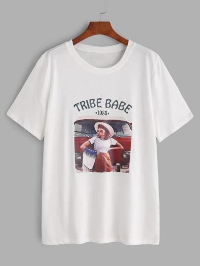 Stampato bianco manica corta T-shirt