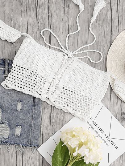 White Lace Up Crop Off The Shoulder Crochet Top