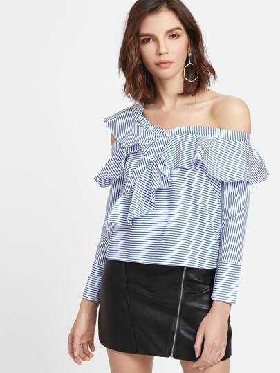 Striped Asymmetric Open Shoulder Ruffle Detail Top