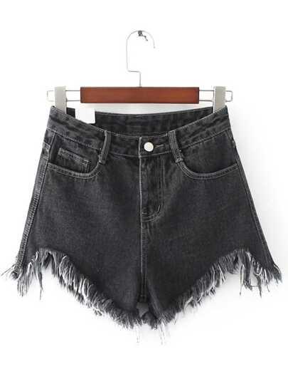 Black Raw Hem Denim Shorts