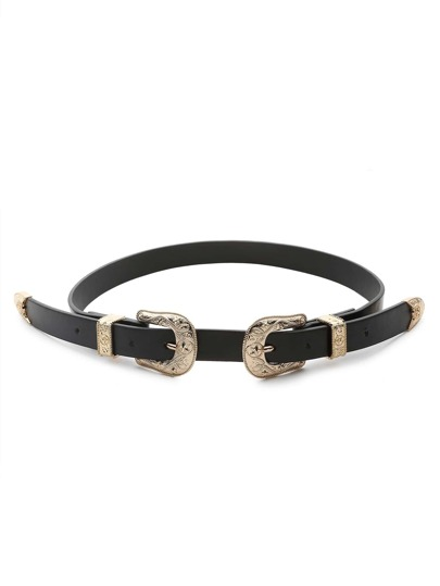 Gold Trim Double Buckle Belt
