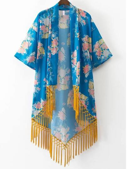 Blue Floral Print Open Front Fringe Hem Kimono