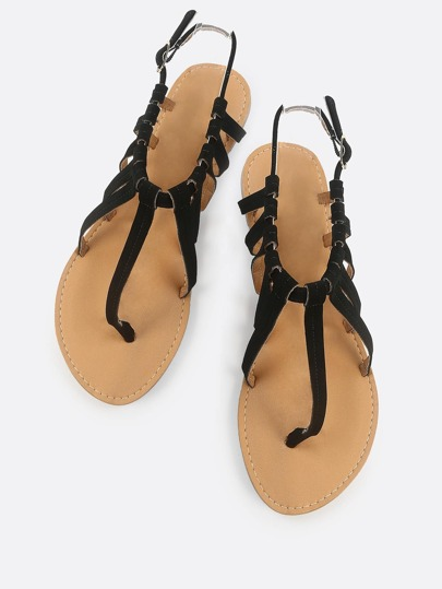 Faux Suede Caged Thong Sandal BLACK