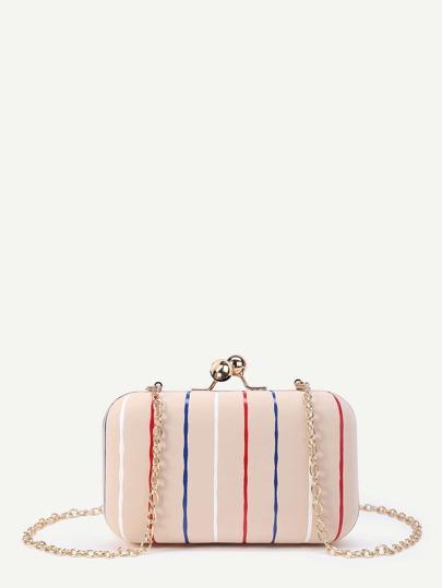 Модная сумка в полоску на цепочке