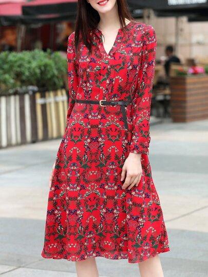 Red V Neck Print Belted A-Line Dress