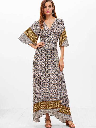 Multicolor Geo Print Flutter Sleeve Surplice Wrap Dress
