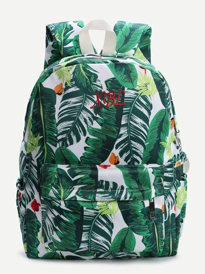 Green Leaf Print Canvas Backpack