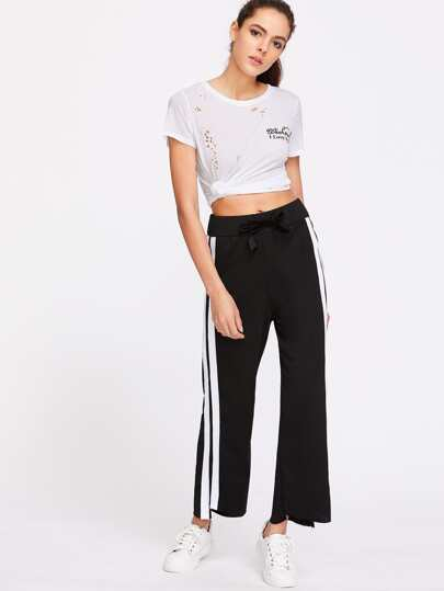 Black Striped Side High Low Raw Hem Pants