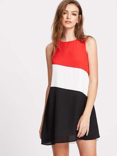 vestito posteriore con blocco di taglio pannello di colore