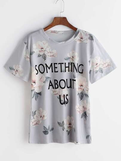 Grey Letter And Floral Print T-shirt
