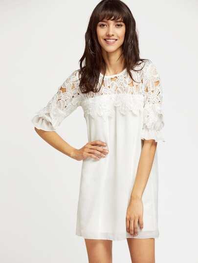 Crochet Lace Trumpet Sleeve Chiffon Dress