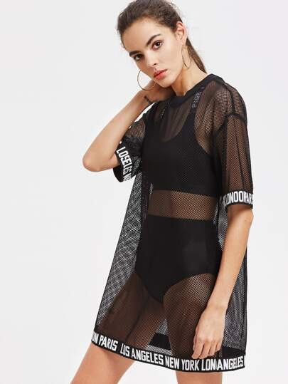 Logo Trim Drop Shoulder Fishnet Tee Dress