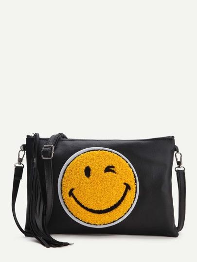 Clutch con bordado de emoji y borlas - negro